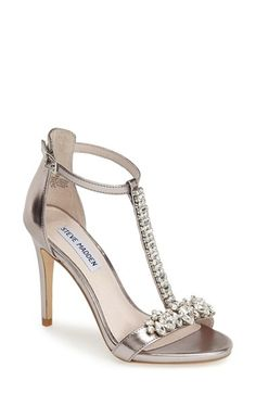 Free shipping and returns on Steve Madden 'Shawna-R' Crystal T-Strap Sandal (Women) at Nordstrom.com. Steal the evening scene with this ankle-strap sandal from Steve Madden featuring a lavish crystal-encrusted T-strap, stiletto heel and metallic leather finish.