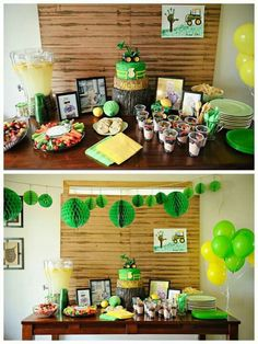 Tractor party for me. I love the tractor footprint on the sign hanging on the wall. 3 Year Old Birthday Party Boy, Birthday Party Themes, Birthday Ideas, Tractor Birthday, Farm Birthday, John Deere Party, Babyshower, Farm Party, Impreza