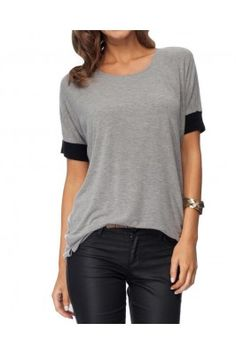 Grey and Black Stretch Jersey Half Sleeved Top