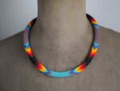 Purple Turquoise Necklace, Native American Style Necklace, Rainbow Colors Necklace, Navajo Inspired Necklace, Ethnic Necklace MADE TO ORDER