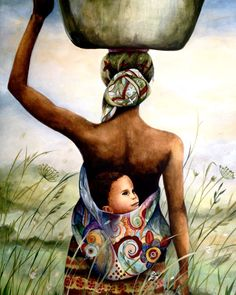 Babywearing art by Claudia Tremblay - mother and child in field art print