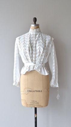 Antique Edwardian White Crochet Lace Blouse Shirtwaist 101