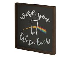 Quadro Porta-Rolhas e Tampinhas Wish you Were Beer - 43X43cm R$160