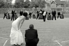 Softball wedding picture. Chris would love this, but I don't think our wedding party is big enough, haha.