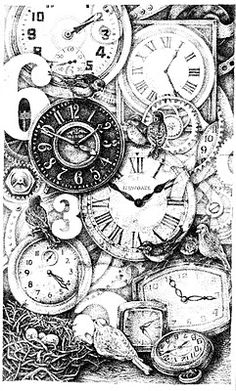 """Time Sure Flies"" my 2011 ink bookplate"