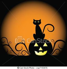 curly black cat sits on jack-o-lantern pumpkin Halloween Halloween Yard Art, Halloween Ideas, Halloween Window, Halloween Rocks, Haunted Halloween, Halloween Pictures, Halloween House, Halloween Decorations, Painted Pumpkins