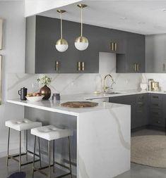 Modern Kitchen Interiors, Luxury Kitchen Design, Kitchen Room Design, Elegant Kitchens, Home Room Design, Home Decor Kitchen, Interior Design Kitchen, Home Kitchens, Kitchen Designs