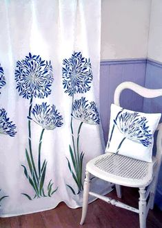 the Large Agapanthus stencilled onto light white cotton voile curtains in Cobalt Blue, Bright Purple, Turquoise Green and Leaf Green Fabric Paints. Bird Stencil, Stencil Painting, Fabric Painting, Paint Fabric, White Cotton Curtains, Voile Curtains, African Lily, Large Stencils, Agapanthus
