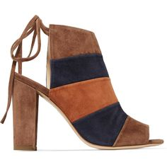 8 Color-block suede mules (€99) ❤ liked on Polyvore featuring shoes, brown, inov8 shoes, high heeled footwear, high heel mules, mule shoes and high heel slingback shoes