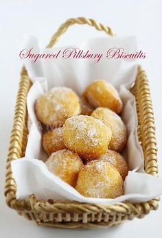 Cheater Donuts using Pillsbury biscuits. Fluffy, light, pillowy and oh-so-YUMMY. These sugared Pillsbury biscuits are the BEST! Just Desserts, Delicious Desserts, Dessert Recipes, Yummy Food, Kraft Recipes, Dessert Ideas, Fried Biscuits, Canned Biscuits, Homemade Biscuits