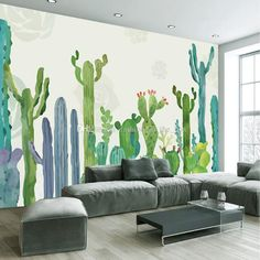 Large Cacti Wall Murals Photo Wallpaper for Living Room Cactus Plant Wall Paper 3 D papel de parede do desktop Custom Size 3d Wallpaper Painting, Mural Painting, Custom Wallpaper, Photo Wallpaper, 3d Wall Murals, Wall Murals Bedroom, Living Room Murals, Patio Wall, Wall Drawing