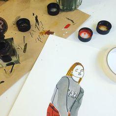 Girls drawings  #bodiljane #watercolors #parissweater #messydesk #daydreaming by bodiljane