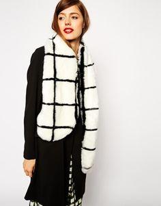 Enlarge ASOS Faux Fur Grid Collar