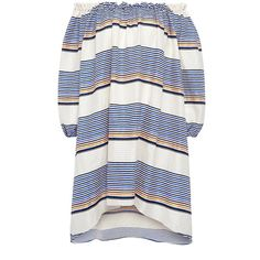 Tanya Taylor - Sunset stripe off the shoulder  dress (77570 RSD) ❤ liked on Polyvore featuring dresses, textured dress, boho chic dresses, bohemian off the shoulder dress, stripe dresses and bohemian dresses