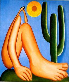"""Abaporu de Tarsila do Amaral, pintado em 1928.    O nome é proveniente da língua Tupi e significa aba (homem), pora (gente) e ú (comer), significando """"homem que come gente""""."""
