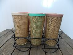 Vintage Set Of 6 Raffia Ware Tumblers Glasses in Wire Carrier Melmac Insulated Thermo
