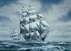 Sailing Ship Paintings | The Clipper Ship Young America Watercolor Painting by Richard Moore