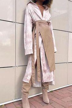 Commuting Turndown Collar Splicing Striped Dress Suit 2019 Striped Shirt Dress With Plain Skirt Suit – Zillalike Fashion Mode, Look Fashion, Hijab Fashion, Fashion Dresses, Womens Fashion, Fashion Design, Asian Fashion, 80s Fashion, Fashion Tips