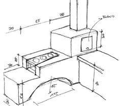 O fogão tem a função de integrar sala e cozinha. Com a idéia do empreiteiro Luiz da Silva, ele foi feito empilhando tijolos maciços. A massa refratária recebeu açúcar, para evitar trincas. E o revestimento levou uma mistura de cimento e pó-xadrez vermelho.