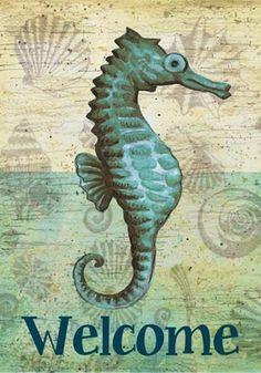 Medio Sea Life Art, Sea Art, Seahorse Art, Seahorses, Beach Design, Watercolor Bird, Beach Crafts, Coastal Style, Beach Themes