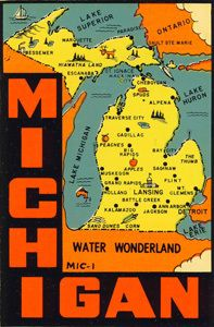 Vintage Travel Decal Replica Window Cling Michigan Michigan