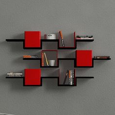 3 Tier Wall Shelves Black Red, £256, now featured on Fab.
