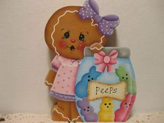 HP Gingerbread Easter Peeps SHELF SITTER hand painted USA