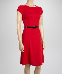 This Sharagano Red Tapered Cap-Sleeve Dress by Sharagano is perfect! #zulilyfinds