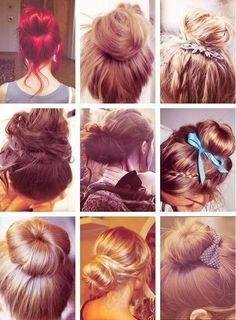 Different types of hair bun, necessary for nursing school!