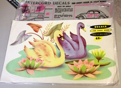 Vintage 1950's Meyercord Decals  Swans & Lily Pads in original package $7.00