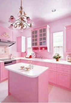 Pretty Pink Room Design Kitchen With Cabinets In Pink And Island And White Countertop And Chandelier And Electric Cooktops And Hood : Adorable Pink Room Design In The House , Home Design and Decor Küchen Design, Home Design, Pink Design, Interior Design, Design Ideas, Design Projects, Decoration Shabby, Pink Decorations, Christmas Decorations