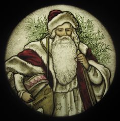 Santa Claus Stained Glass. $125.00, via Etsy at haeuserheil.