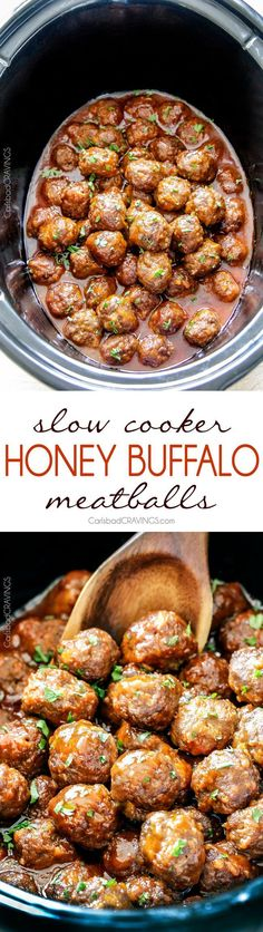 Tender juicy slow cooker Honey Buffalo Meatballs simmered in the most… #meatloafrecipesslowcooker