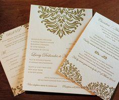 Formal letterpress #wedding #invitation design Isabella.  | Invitations by Ajalon | http://invitationsbyajalon.com/