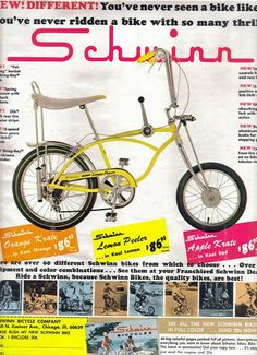 Schwinn bicycle ad from Boys Life Magazine, July 1968 Velo Vintage, Vintage Bicycles, Vintage Ads, Bmx, Cool Bicycles, Cool Bikes, Velo Biking, Banana Seat Bike, Old Bicycle