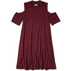 Hollister Must-Have Cold Shoulder Shift Dress ($30) ❤ liked on Polyvore featuring dresses, burgundy, cut out dresses, cut out shoulder dress, burgundy shift dress, open shoulder dress and cutout dresses