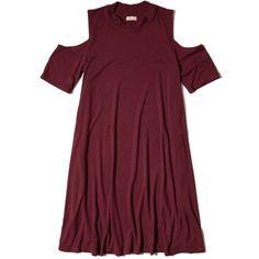 Hollister Must-Have Cold Shoulder Shift Dress ($30) ❤ liked on Polyvore featuring dresses, burgundy, cut out dresses, cut out shoulder dress, burgundy shift dress, open shoulder dress and cutout dresses