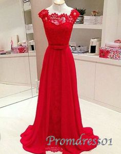 Prom dresses long, modest red lace long prom dress with bowknot, 2016 handmade evening dress for teens http://www.promdress01.com/#!product/prd1/4390748655/modest-red-lace-long-prom-dress-with-bowknot
