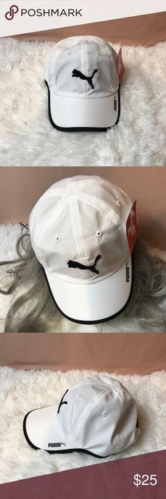 WHITE PUMA HAT!! White Puma hat with black trim omg the brim of the hat. Black Puma sign in the middle of the white hat. Black snap in the back of hat. Puma Accessories Hats