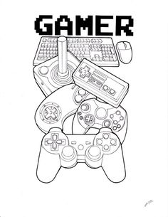 Traditional Rose Tattoos Outline Gamer tattoo outline by