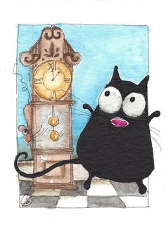 ACEO Original watercolor painting whimsical fat black cat - hickory dickory #IllustrationArt