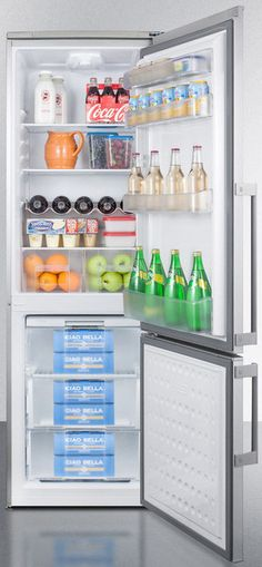 Summit FFBF245SSXIM 24 Inch Counter Depth Bottom-Freezer Refrigerator with 9.8 cu. ft. Capacity, Spill-Proof Glass Shelves, Door Storage, Clear Crispers, Wine Shelf, Interior LED Light and Energy Star Rated: with Ice Maker
