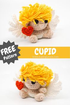 Kawaii Crochet, Crochet Bunny, Cute Crochet, Crochet Crafts, Crochet Dolls, Crochet Projects, Crochet Amigurumi Free Patterns, Single Crochet Stitch, Cupid