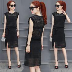 Lace dress female summer 2017 new women's fashion temperament Slim summer set skirt was thin two sets