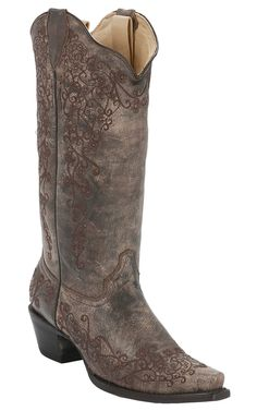 My daughter bought these for me!!!Corral® Ladies Distressed Sand w/ Intricate Chocolate Embroidery Snip Toe Western Boots   Cavender's Boot City
