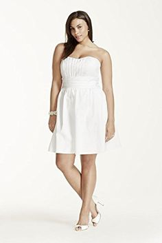 Novelty Short strapless cotton sateen dress Style INT83312, White, 2
