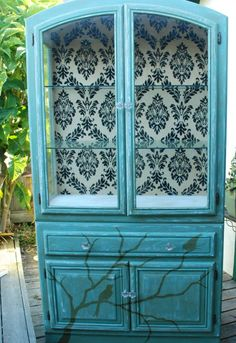 Painted furniture.  Painted china cabinet. decoupage