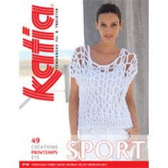 Model / Pattern of Sweater of Woman of Spring / Summer from KATIA Catalogue Katia, Laine Katia, Summer Books, Crochet Magazine, Sports Women, Lana, Knitting Patterns, Knit Crochet, Sweaters For Women
