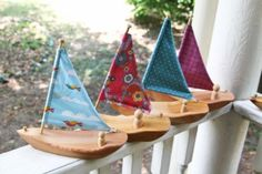 Wooden sailboats made from salvaged western red cedar and Organic cotton. Made in Maine. $32 from a Small Green Footprint