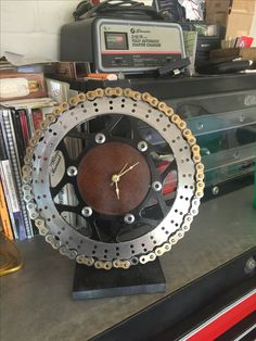 Wall clock made from motorcycle parts